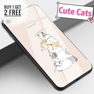 Accessories - Cute Cats Tempered Glass iPhone Phone Case Cover
